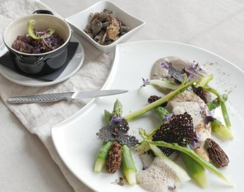 Filet de Saint Pierre, asperges vertes, morilles et sauce au vin jaune